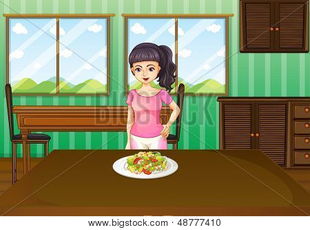 Illustration of a woman standing in front of a table with food
