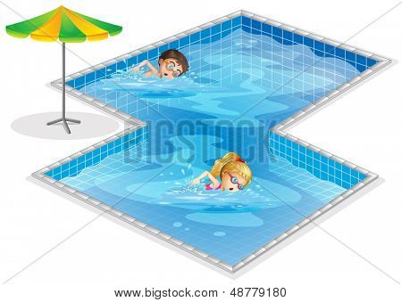 Illustration of a pool with a boy and a girl swimming on a white background