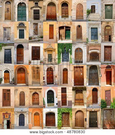 doors in Italy, collection of different beautiful ancient door in italian cities, architectural details