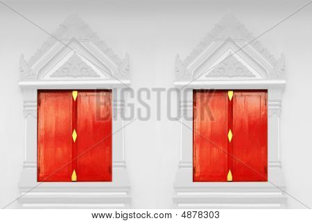 Red Doors At Thai Temple