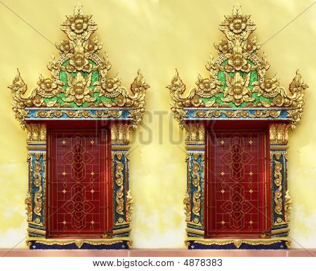 Red Doors At Thai Buddhist Temple
