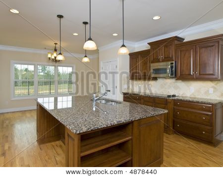 Luxury Home Kitchen Hanging Lights And Island