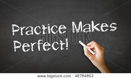 A person drawing and pointing at a Practice Makes Perfect Chalk Illustration poster
