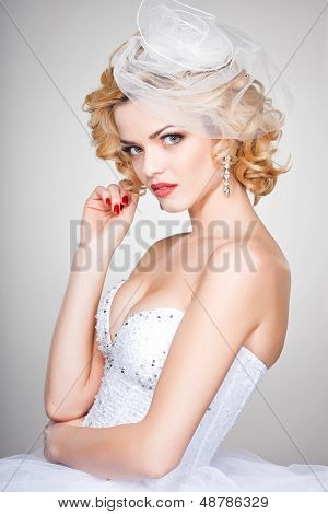 Beautiful Bride Portrait Wearing Professional Make-up Shoot In The Studio