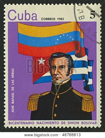 CUBA - CIRCA 1983: A stamp printed in Cuba shows image of the Jose Rafael De Las Heras (1790-1822), circa 1983.