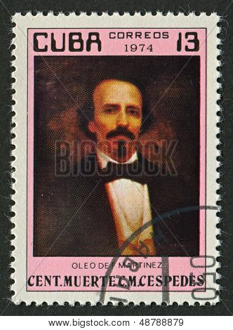 CUBA - CIRCA 1974:A stamp printed in Cuba shows image of the Carlos Manuel de Cespedes del Castillo was a Cuban planter who freed his slaves and made the declaration of Cuban independence, circa 1974.