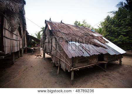 BERDUT, MALAYSIA - APR 8: Houses in village Orang Asli - the aborigines of Malaysia on Apr 8, 2013 in Berdut, Malaysia. More than 76% of all Orang Asli live below the poverty line.