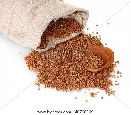 Buckwheat in a bag isolated on white