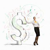 Image of confident businesswoman leaning on dollar sign poster