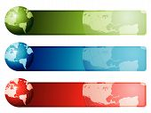 World map banners using highly detailed hand drawn maps. poster