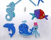 Baby crib mobile - Seahorse, Dolphin, Whale, Octopus, Fish poster