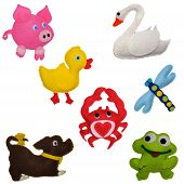 7 Felt toys animals - Dog, Pig, Duckling, frog, Swan, Crab, Dragonfly poster