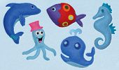 Felt toys - Seahorse, Dolphin, Whale, Octopus, Fish poster