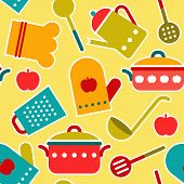 Colorful seamless pattern of kitchen utensil - vector illustration poster