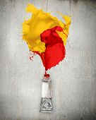 Image of paint tube with color splashes poster
