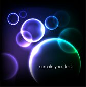 Blue light effects on round placeholder for your text on dark background. EPS10 poster