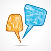 Abstract speech bubble with triangle - vector illustration poster