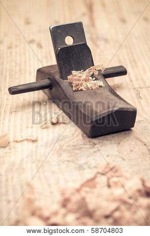 Carpentry Of Small Wood Planer Closeup
