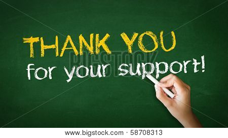 A person drawing and pointing at a Thank you for your support Chalk Illustration poster
