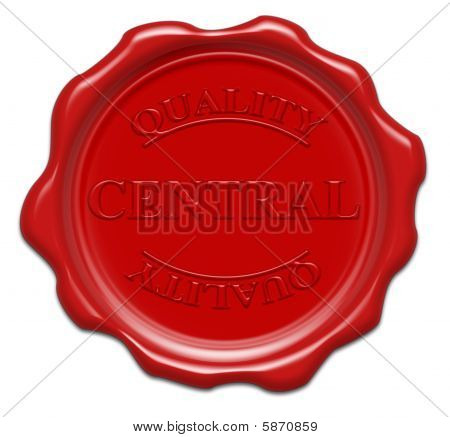 Quality Central - Illustration Red Wax Seal Isolated On White Background With Word : Central