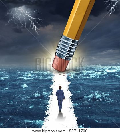 Freedom concept with a lightning storm at sea and a pencil erasing a clear path for a businessman to walk to his success goal as a metaphor for bridge building solutions and overcoming adversity. poster