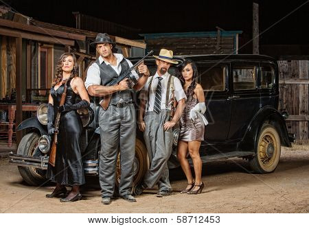 Four Gangsters Posing