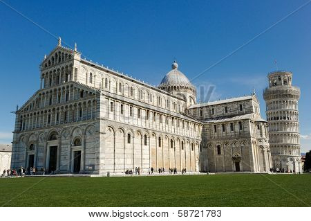 ITALY - MARCH 4: The Pisa Cathedral and Leaning Tower of Pisa in Pisa, Italy.