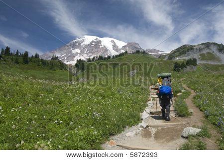 Backpacker/climber beginning hike