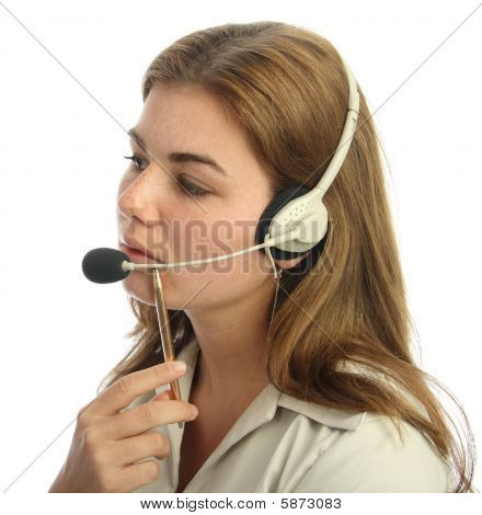 Pensive Call Centre Agent
