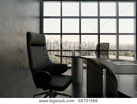 Black office room interior with modern desk