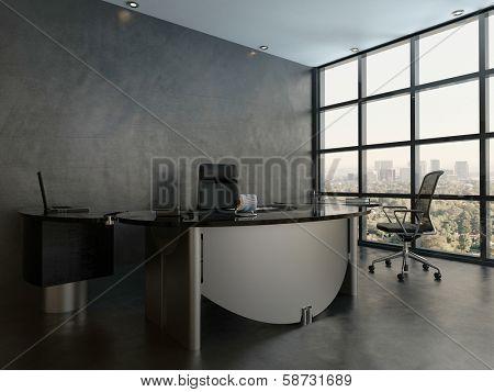 Black office room interior with modern desk
