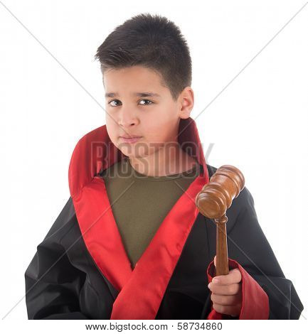 Child judge ready to strike gavel isolated on white background