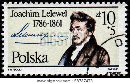 POLAND - CIRCA 1986: A stamp printed by Poland shows Joachim Lelewel (1786-1861) - Polish historian, bibliographer and politician, circa 1986.