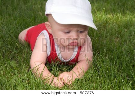 Baby In The Grass For The First Time