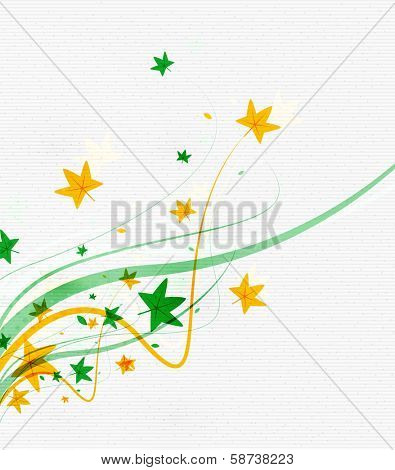 Green eco nature minimal floral concept | flying leaves | nature flying leaves template poster