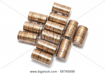 Lot Of Coins On White Background