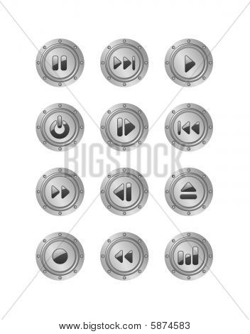 Metal Music Buttons