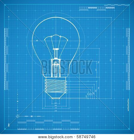 Blueprint of bulb lamp. Stylized vector illustration.