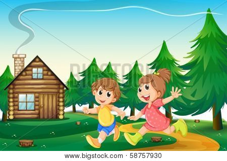 Illustration of the kids playing outside the wooden house at the hilltop