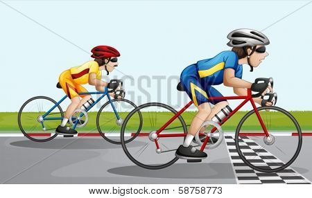 Illustration of the two bikers racing
