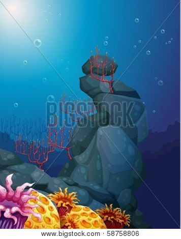 Illustration of a view of the underworld with rocks and coral reefs