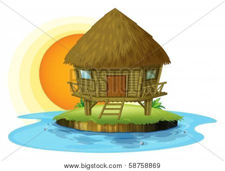 Illustration of a nipa hut in an island on a white background