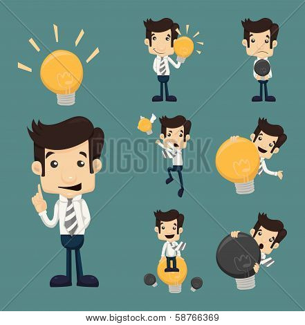 Set Of Businessman Characters Make Idea