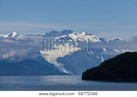 College Fjord mountains with cloud
