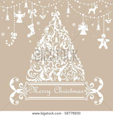 Christmas pastel greeting card