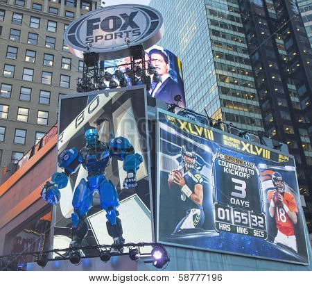 Fox Sports broadcast set on Times Square during Super Bowl XLVIII week in Manhattan