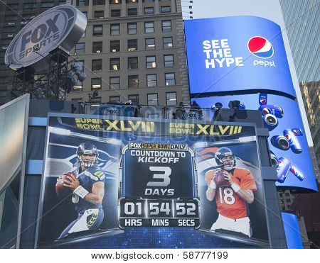 Fox Sports broadcast set on Times Square with the clock counting time till Super Bowl XLVIII match
