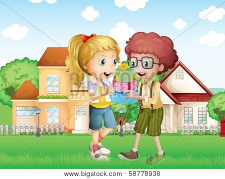 Illustration of a boy and a girl exchanging gifts in front of the village