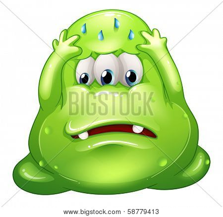 Illustration of a sad greenslime monster on a white background