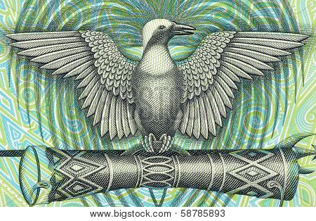 PAPUA NEW GUINEA- CIRCA 1991: Bird of Paradise on 2 Kina 1991 Banknote from Papua New Guinea.